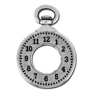 25mm Antique Silver Clock Charm by Tierracast Arts