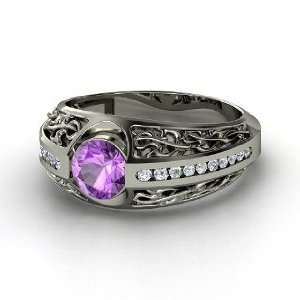 Vintage Romance Ring, Round Amethyst Sterling Silver Ring