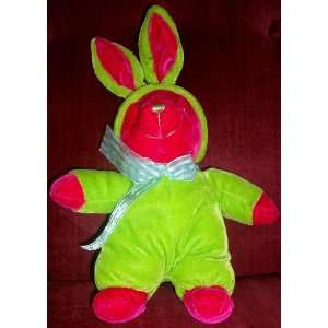 Plush Pink Teddy Bear in Green Bunny Costume Doll Toy Toys & Games
