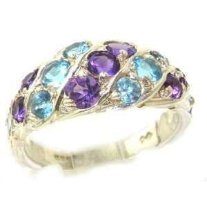 Ladies Solid Sterling Silver Natural Amethyst & Blue Topaz Band Ring