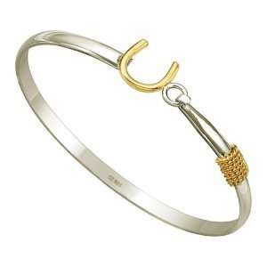 Silver 18K Gold Plated Horse Shoe Good Luck Bangle Bracelet Jewelry