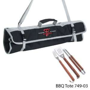Texas Tech Printed 3 Piece BBQ Tote BBQ set Black:  Kitchen