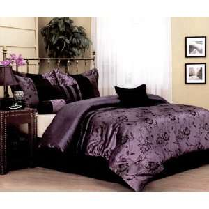 Floral Flower Comforter Set Bed In A Bag Purple/Black