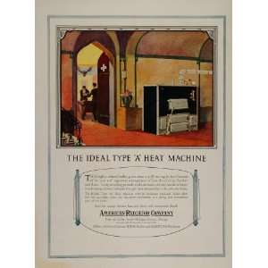 1920 Ad American Radiator Boiler Furnace Billiard Pool   Original