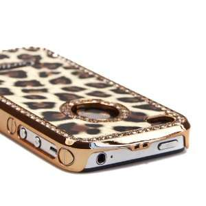Brown Luxury Bling Rhinestone Leopard Hard Case Cover for