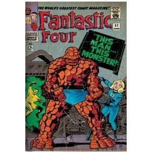 Marvel Comics Retro Fantastic Four Family Comic Book Cover #51 (aged