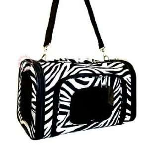 Protected) Zebra Black Trim Pet Dog Cat Carrier   14