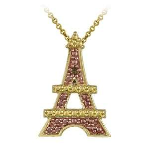 over Silver Champagne Diamond Accent Eiffel Tower Pendant Jewelry