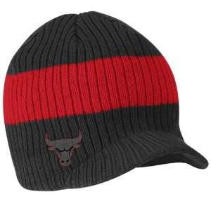 adidas Chicago Bulls Black Visor Knit Beanie:  Sports