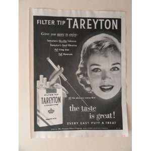 Tareyton cigarettes. 1956 full page print advertisement