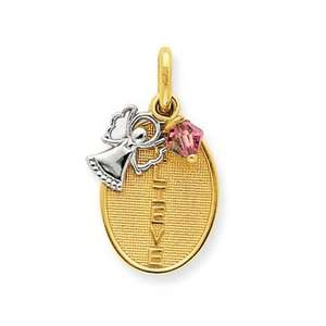 14k Two tone Believe with Angel and Pink Crystal Pendant Jewelry