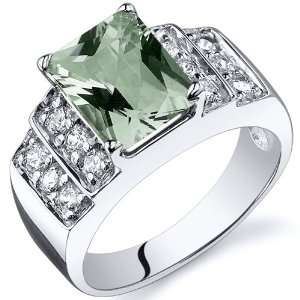Radiant Cut 2.00 carats Green Amethyst Cubic Zirconia Ring in Sterling