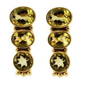 20 Ct Round and Oval Cut Citrine Sterling Silver Earrings Jewelry