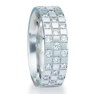 6.0 Millimeters 14 Karat White Gold Diamond Wedding Ring