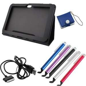 GTMax Black Folio Leather Protector Cover Case with Stand