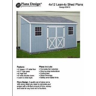 Storage Shed Plans, Lean To Roof Style, 4 x 12 Plans Design E0412