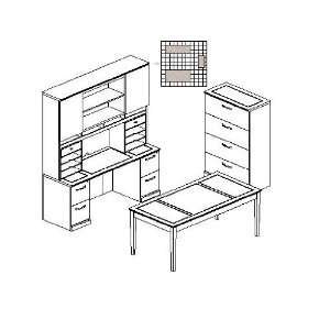 Modern Veneer Office Desk and Table with Lateral File