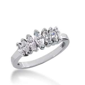 18k Gold Diamond Anniversary Wedding Ring 7 Marquise Shaped Diamonds 1