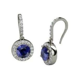 Drop Earrings, Round Sapphire Platinum Earrings with Diamond Jewelry