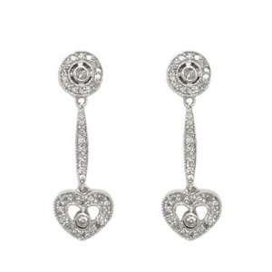 14K White Gold Diamond Circle and Heart Dangle Earrings Jewelry