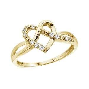 14K Yellow Gold .10 Ct Diamond Heart Ring (Size 8.5) Jewelry