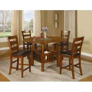 : 102158SET5 Lavista 5 Pc Dining Room Set in Dark Oak: Home & Kitchen