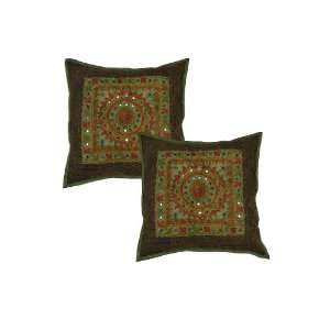 Mirror Work Ethnic Indian Cushion Pillow Cover Throw India