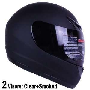 Matte Black Full Face Motorcycle Helmet DOT +2 Visor