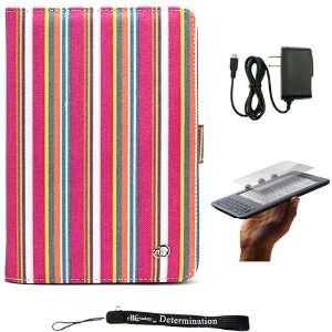 Pink Premium Nylon Flip Portfolio Protection Cover Case with Crayon