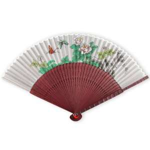 Painted Fabric   Perforated Red Tint Wood Hand Held Folding Fan
