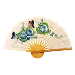 Hand painted White Folding Decorative Wall Fan   Butterfly