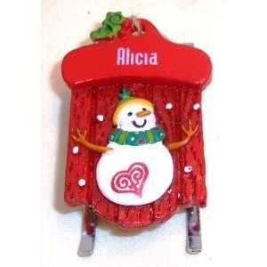 Alicia Christmas Snowman Sled Ornament