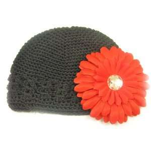 Fits 0   9 Months With a 4 Red Gerbera Daisy Flower Hair Clip Baby