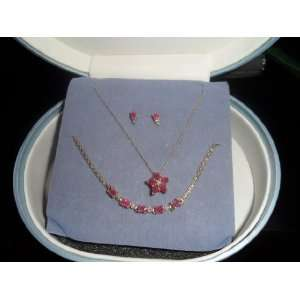 10k Gold Ruby Necklace ,Bracelet , Earing Set with Diamond