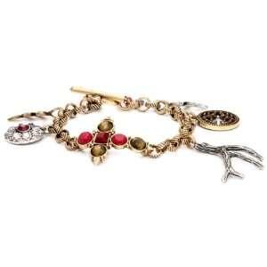 Smokey Mountain Silver & Gold Tone Pave Charm Bracelet Jewelry