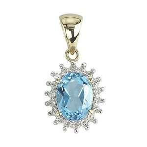 Yellow Gold Oval Shape Blue Topaz & Diamond Pendant