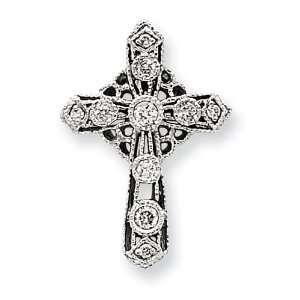 14k White Gold Diamond Filigree Cross Pendant Jewelry