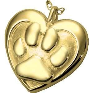 Gold Double Heart Paw Print Pet Urn Pendant