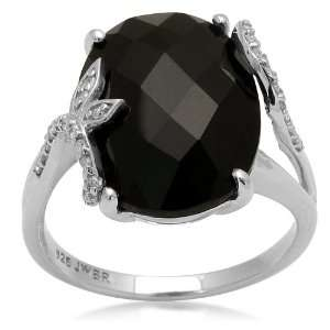 10K White Gold and Oval Onyx Ring, Size 6 Jewelry