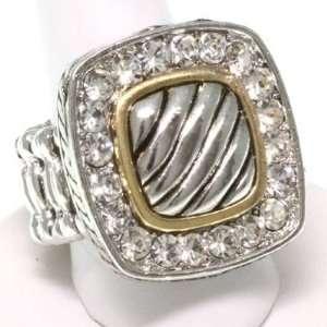 Gold with Clear Crystal Rhinestone Epoxy Stretch Ring Fashion Jewelry