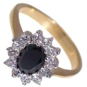 Princess Lge Gold Rhodium Plated Jet CZ Dress Ring size N Jewelry