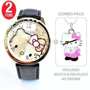 Hello Kitty Classic Quartz Watch Black with Hello Kitty Pirate Charm