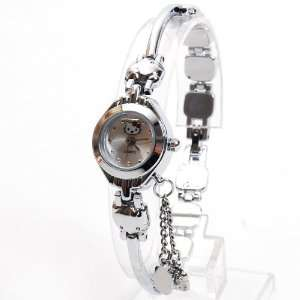 Hello Kitty Quartz Wristwatch Wrist Watch Silver Toys