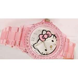 Hello Kitty Transparent Wrist Quartz Watch  Rose Pink