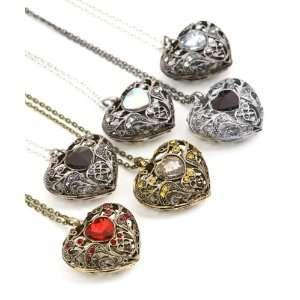 Black Hematite,silver Tone Filigree Heart with Rhinestones