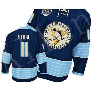 2012 New NHL Pittsburgh Penguins#11 Staal Black/white/blue Ice Hockey