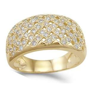 Gold Fashion Ring Cubic Zirconia 2 CT, Size 5 Jewel Roses Jewelry