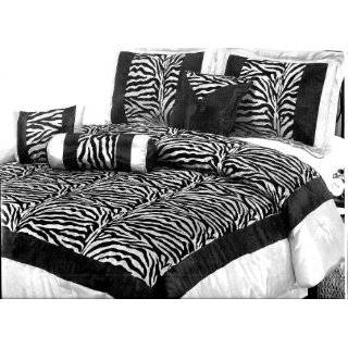 Micro Suede and Short Fur Black / White Comforter Set Bedding in a Bag