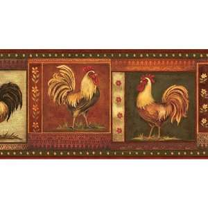 Brown Gypsy Roosters Wallpaper Border