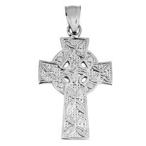 Silver Irish Celtic Claddagh Cross Pendant Jewelry
